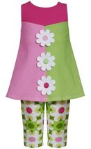 Green Pink Colorblock Daisy Flower Applique Dress/Legging Set GR2HA, Green, B...