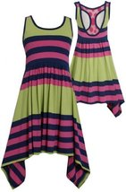 Stripe Colorblock Asymmetric Hanky Hem Racerback Dress GR4MH, Green, Bonnie J...