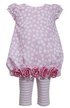 Little Girls Pink Burnout Dot Print Rolled Rosette Border Bubble Dress/Leggin...