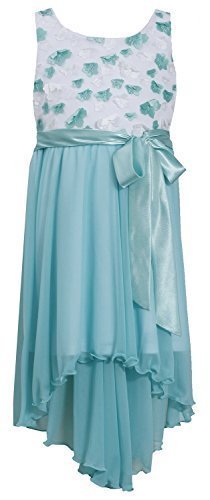Little-Girls Aqua White Flutter Diecut Floral Chiffon High Low Dress, AU3NA, ...