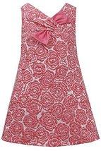 Little Girls 4-6X Coral Floral Brocade Pull-Thru Bow A-Line Sheath Dress, Bon...