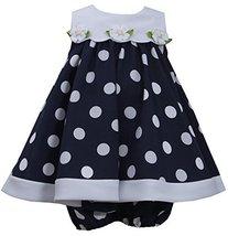 Baby Girls Blue White Nautical Resort Polka Dot Trapeze Dress, Navy, 0/3M