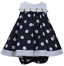 Baby Girls Blue White Nautical Resort Polka Dot Trapeze Dress, Navy, 3/6M