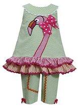 Baby-Girls Infant 12M-24M Green Pink Flamingo Seersucker Top/Capri Pants Set,...