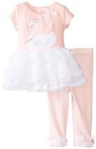 Bonnie Baby Baby-Girls 3M-24M Swan Applique Legging Set (3-6 Months, Pink)
