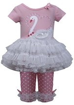 Baby Girls 3M-24M Pink White Sequin Swan Applique Tutu Dress/Legging Set (12M...