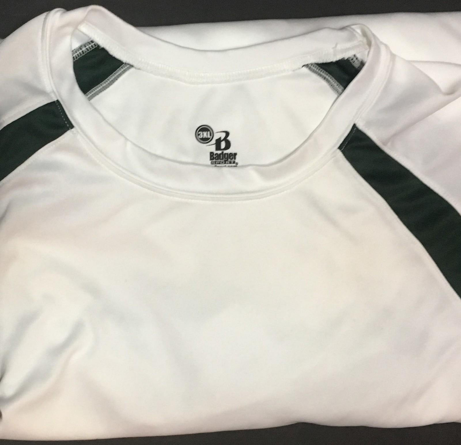 Badger Sports Men's Shirt White & Green 3XL Moisture Wicking