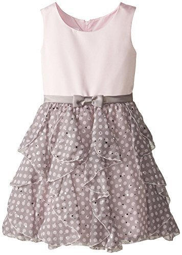 Little Girls Satin to Spangle Dot Chiffon Cascade Ruffle Dress (6X, Pink)