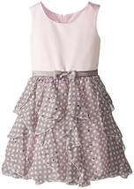 Little Girls Satin to Spangle Dot Chiffon Cascade Ruffle Dress (6X, Pink) image 1