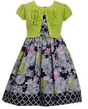 Girls 4-16 Green Black Multi Floral Print Dress/Ruffle Jacket Set (4, Lime) image 1