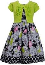 Girls 4-16 Green Black Multi Floral Print Dress/Ruffle Jacket Set (4, Lime) image 2