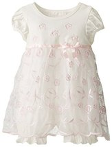 Baby-Girls INFANT 12M-24M White/Pink Floral Embroidered Coverall Mesh Dress, ...