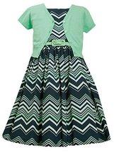 Little-Girls Mint-Green/Blue Chevron Stripe Belted Dress/Jacket Set, MN3BU, M...