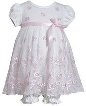 Bonnie Jean Girls Spring Sheer Flower Embroidered Skirt Coverall, Pink, 24M