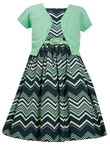 Little-Girls Mint-Green/Blue Chevron Stripe Belted Dress/Jacket Set, MN3SA, M...