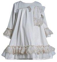 Little Girls 2T-6X Ivory Gold Lace Ruffle Bell Sleeve Knit Dress (3T, Ivory)