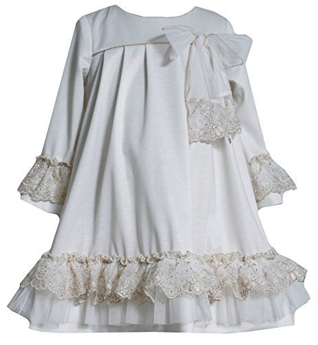 Little Girls 2T-6X Ivory Gold Lace Ruffle Bell Sleeve Knit Dress (4T, Ivory)