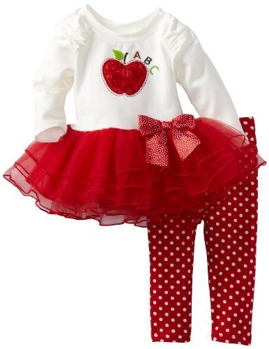 Bonnie Baby-Girls Newborn Apple Applique Tutu Legging Set (18 Months, Ivory)