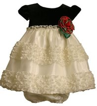 Bonnie Baby Stretch Velvet Bodice To Organza Skirt With Rousching, Ivory, 24 ...