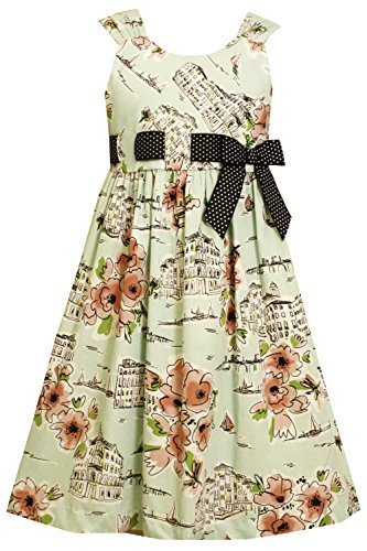 Big-Girls Tween Green/Coral Pull-Thru Ribbon Conversational Print Dress, BU4B...