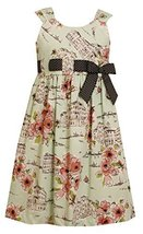 Big-Girls Tween Green/Coral Pull-Thru Ribbon Conversational Print Dress, BU4T... image 2