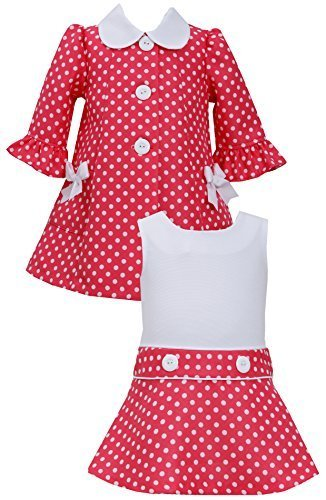 Baby Girls Infant 12M-24M Coral White Jacquard Dot Dress/Coat Set, CR1HB, Cor...