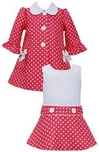Little Girls 2T-6X Coral White Jacquard Dot Dress/Coat Set, Coral, 2T