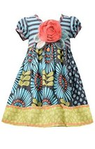 Little Girls Aqua-Blue/Multi Stripe Knit to Sunflower Mix Print Dress, AU3BU,...
