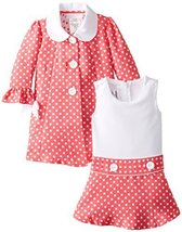 Bonnie Jean Little Girls 2T-6X Coral White Jacquard Dot Dress/Coat Set (2T, C...
