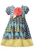 Little Girls Aqua-Blue/Multi Stripe Knit to Sunflower Mix Print Dress, AU3SA,...