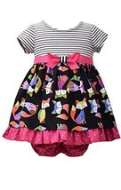 Baby Girls Infant 12M-24M Black Stripe Knit to Fox Print Poplin Dress, Bonnie...