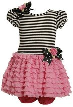 Bonnie Baby Baby-Girls Infant Knit Bodice To Drop Waist Multi Ruffle Skirt (0...