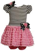 Bonnie Baby Baby-Girls Infant Knit Bodice To Drop Waist Multi Ruffle Skirt (6...