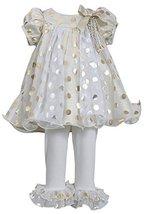 Bonnie Baby Girls Newborn Metallic Gold/Silver Dotted Trapeze Dress/Legging S...