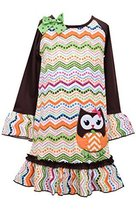 Little Girls Brown/Multi Owl Applique Dotted Chevron Stripe Drop Waist Dress,...