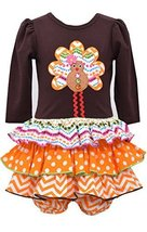 Baby Girls Brown/Orange Gingerbread Turkey Mix Print Tier Dress, Bonnie Baby,...