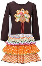 Little Girls Brown/Orange Gingerbread Turkey Mix Print Tier Dress, Bonnie Jea...