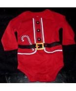 CHRISTMAS SANTA CLAUS SIZE 6 -9 MONTH BABY RED PAJAMA SLEEPER CREEPER BO... - $17.77