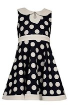 Little Girls 4-6X Navy-Blue Polka Dot Scuba Knit Fit And Flare Dress, Bonnie ...