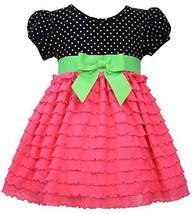 Baby Girls Pin Dot Knit to Eyelash Ruffles Dress, Bonnie Baby, Fuchsia, 24M