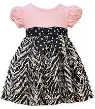 Baby Girls Solid Knit to Zebra Print Eyelash Ruffles Dress, Bonnie Baby, Pink... - $29.60
