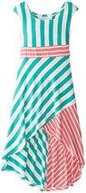 Bonnie Jean Little Girls' Hi-Low Stripe Print Maxi Dress, Jade, 6 [Apparel]