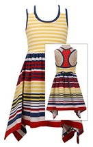 Big-Girls Tween Yellow/Multi Striped Colorblock Shark Bite Knit Dress, 10