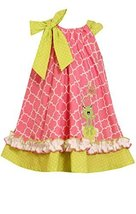 Little Girls Pink Bow Shoulder Frog Applique Trapeze Dress, Bonnie Jean, Pink, 5