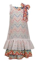 Little-Girls 2T-6X White Multicolor Chevron Stripe Lace Overlay Dress, 5, Whi...