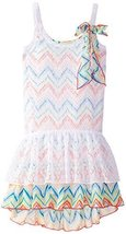 Bonnie Jean Big Girls' Lace Over Print Knit Dress, Multi, 10 [Apparel]