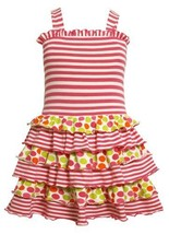 Bonnie Jean Little Girls 2T-6X Pink Stripes and Dots V-Back Tiered Knit Dress...
