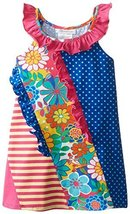 Bonnie Jean Little Girls' Mixed Knit Print Sundress, Fuchsia, 4T [Apparel]