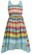 Aqua Multi Lace Hanky Hem Watercolor Print Chiffon Dress AQ4BA, Aqua, Bonnie ...