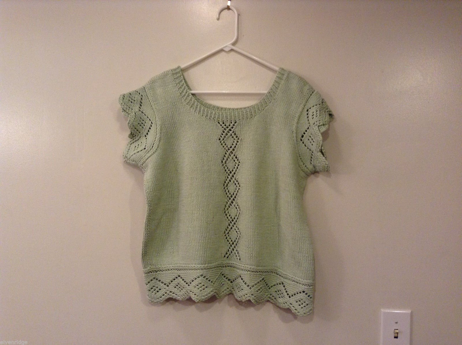 Hand Knitted Pale Green Cotton Scoop Neck Blouse Top Vest No Size Tag